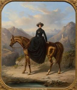 Portret van Alexine Tinne te paard, door Henri Auguste d'Ainecy, Graaf van Montpézat, 1849 – Een 14-jarige Alexine is hier in amazonekostuum afgebeeld tegen de achtergrond van de Pyreneeën, in de buurt van Pau. De Tinne's kwamen hier geregeld, onder meer om te kuren in het chique kuuroord Eaux Bonnes. (Collectie Haags Historisch Museum)