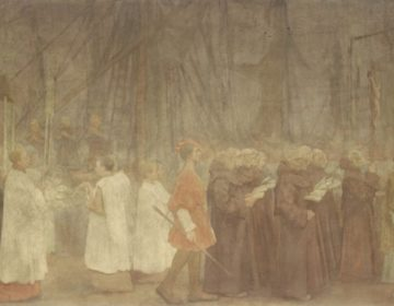 De processie, afgebeeld door Antoon Derkinderen, te zien in de Begijnhofkapel
