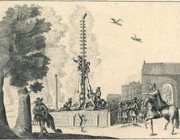 De lichamen van de gebroeders de Witt opgehangen op het Groene Zoodje, 1672