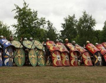 Demonstratie tijdens het Romeinenfestival