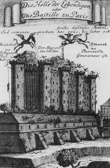 Achttiende-eeuwse tekening van de Bastille