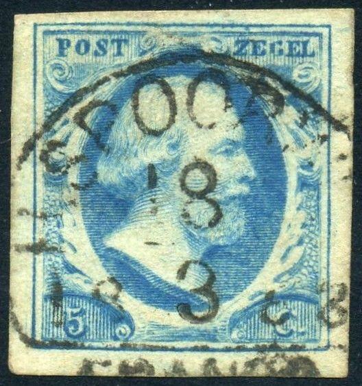 Nederlandse postzegel van 5 cent uit 1852 met daarop de beeltenis van koning Willem III