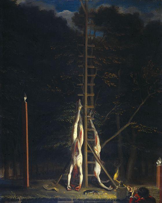 Het tragische lot van de gebroeders de Witt. Schilderij uit 1672, toegeschreven aan Jan de Baen, te bezichtigen in het Rijksmuseum te Amsterdam. Detail: Niet alleen werden de broers gevild en ondersteboven opgehangen voor ze verbrand werden, ook hun kat werd om het leven gebracht.
