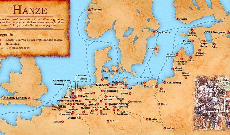 De belangrijkste Hanzesteden en –routes – Afb: CC/Doc Brown