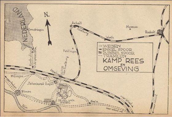 Kaart van kamp Rees, met dependances in Empel en Bienen in het boek 'De hel van Rees' van Jan Kirst (1946). Megchelen, net in Nederland, ligt op 8 kilometer afstand
