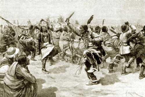 Sioux-indianen tijdens een Ghost Dance (Afbeelding: Amédée Forestier, 1891)