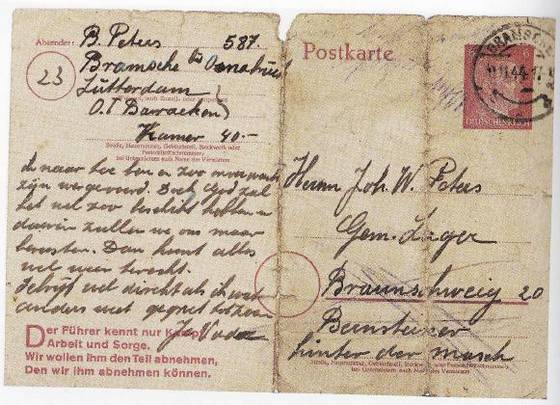 Levensteken van Bernard Peters uit Bramsche aan zijn zoon Jan, ook dwangarbeider, in Braunschweig