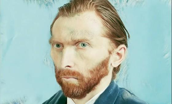 Bewerkt zelfportret van Vincent van Gogh