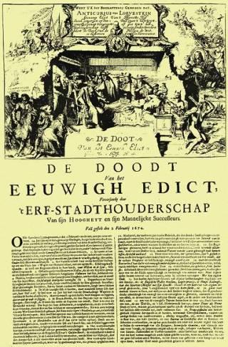 Het Eeuwig Edict van 1667, dat de toegang van Oranje tot de regering van de Staten moest blokkeren, werd in 1674 triomfantelijk weer opgeheven, toen Willem III tot erf-stadhouder werd benoemd.