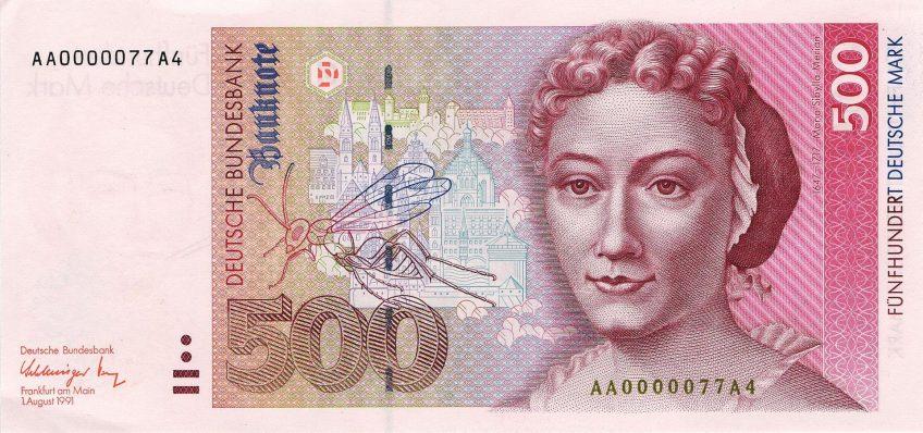 Portret van Maria Sibylla Merian op een bankbriefje van 500DM