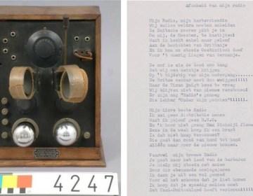 Een illegaal achtergehouden radio en rechts het gedicht 'Afscheid van mijn Radio'