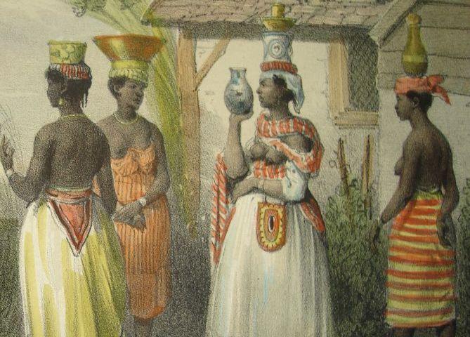 Slaven op een tekening van Pierre Jacques Benoit – Foto: Bijzondere Collecties