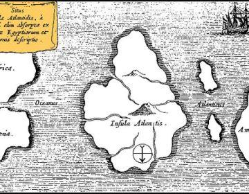 Fictieve kaart van Atlantis uitgegeven door Athanasius Kircher (Amsterdam, 1665). Op deze kaart is het noorden onder en het zuiden boven. Links is Spanje nog zichtbaar en rechts Amerika.