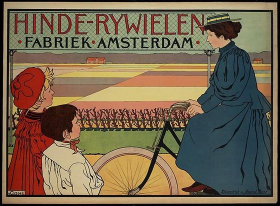 Affiche Hinde-Rywielenfabriek Amsterdam - Johann Georg van Caspel, 1896-98 (Wiki Commons)