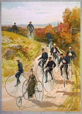 Fietsers aan het einde van de 19e eeuw (Wiki Commons)