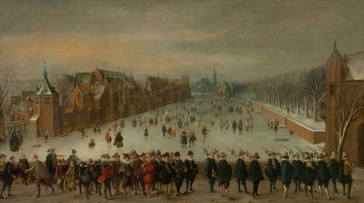 Sinds de late middeleeuwen wordt de vijverzijde van het Binnenhof gekenmerkt door een bonte verzameling gebouwtjes. In de Republiek hadden zowel de Staten-Generaal, als de Staten van Holland en de stadhouder aan deze zijde hun kwartieren. Adam van Breen, 1618, Rijksmuseum Amsterdam, SK-A-955.