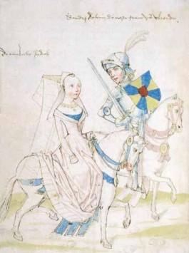 Boudewijn met de IJzeren Arm en Judith in een zestiende-eeuws handschrift. Boudewijns schild, 'Het Oude Vlaenderen', werd door alle Vlaamse graven gedragen tot Filips van de Elzas het verving door een wapen met een klimmende leeuw. (Koninklijke Bibliotheek, Brussel)