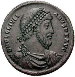 Beeltenis van Julianus Apostate op een bronzen munt - Foto: CC