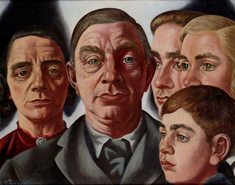 John Rädecker met vrouw en kinderen - Charley Toorop, 1935-38 (Collectie Stedelijk Museum Alkmaar)