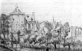 Huis Rijswijk op een pentekening van Jan de Beijer