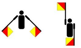 De letters 'n' en 'd' in het semafooralfabet - Afb: Wiki