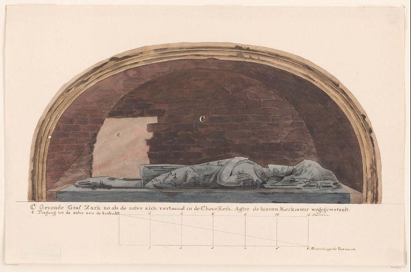 De nis in de Koorkerk met daarin de zerk; aquarel door J.H. Reygers. Op de achtergrond (links) het gat dat men in 1817 in de zuidwand van de kerk had gehakt om toegang tot de nis te krijgen. - (uit Zelandia Illustrata, 2. 570 C)