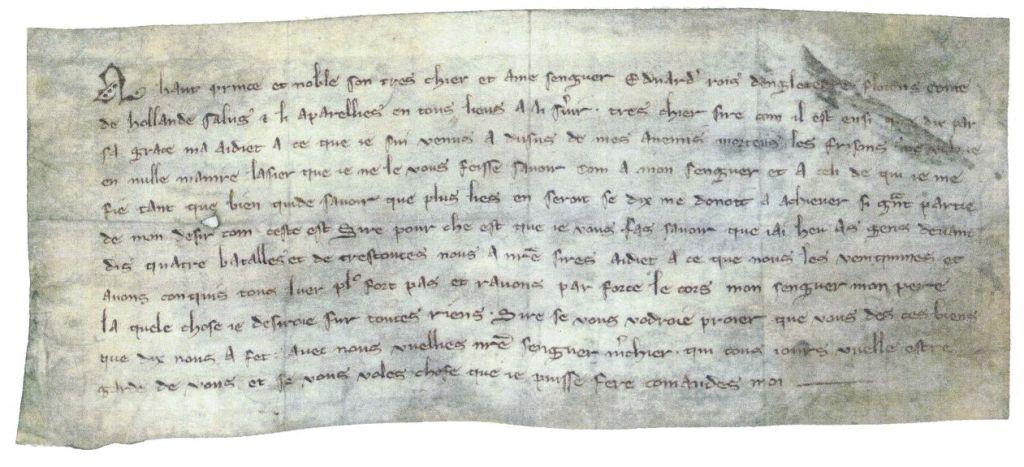 Graaf Floris V bericht de Engelse koning dat hij de Friezen in vier veldslagen heeft overwonnen en dat hij het lichaam van zijn vader heeft gevonden (<i>la quele chose je desiroie sur toutes riens</i>).