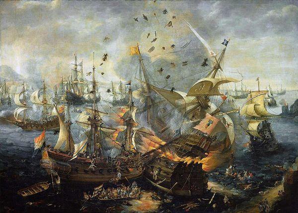 Slag bij Gibraltar in 1607, Cornelis Claesz van Wieringen (Rijksmuseum)