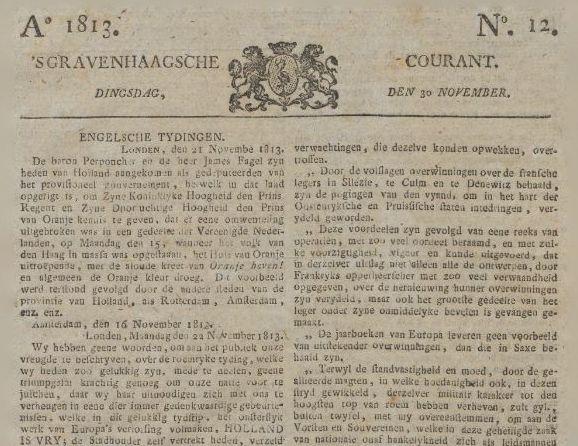 Bericht in de 's Gravenhaagsche Courant van 30 november 1813 (KB)