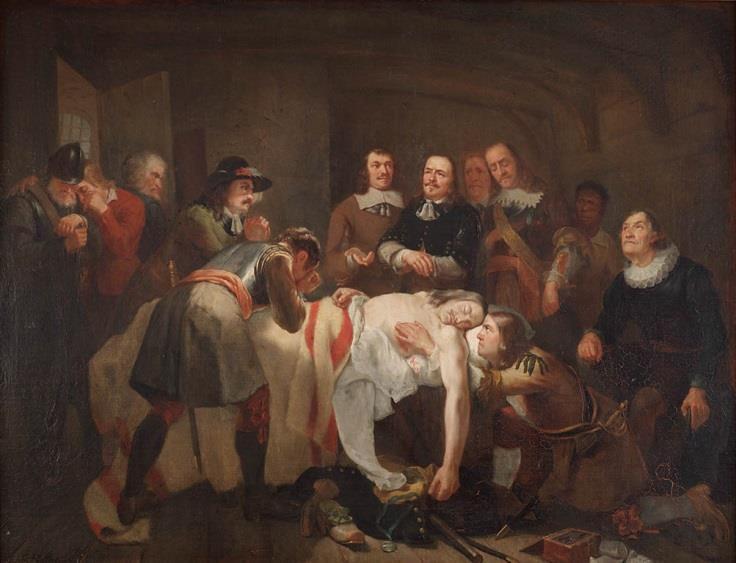Christiaan Julius Lodewijk Portman (1799-1868). Dood van Admiraal Tromp, 1824. Olieverf op doek.