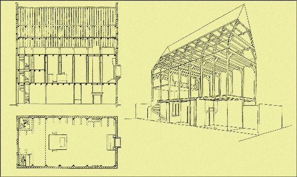 Henk Zantkuijl en Hans van Agt. Reconstructie van de synagoge Neve Sjalom naar het bestek van 1612. Links (aan de kant van Houtgracht/Waterloo - plein) de hangkamer met vrouwengalerij, rechts de nis voor de hechal. (WBOOKS)