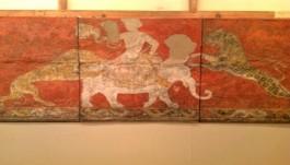 De muurschildering uit Centraal-Azië