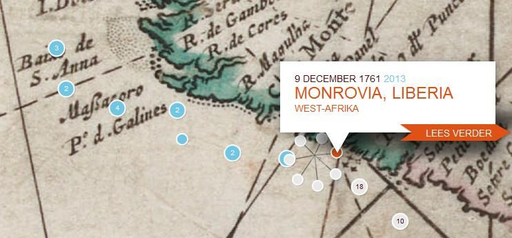 Kaart uit de 18e eeuw met de route van d'Eenigheid naar Liberia in 1761