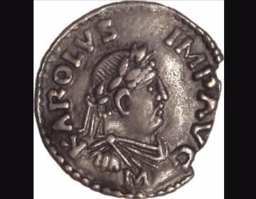 Beeltenis van Karel de Grote op een denarius uit Mainz - cc