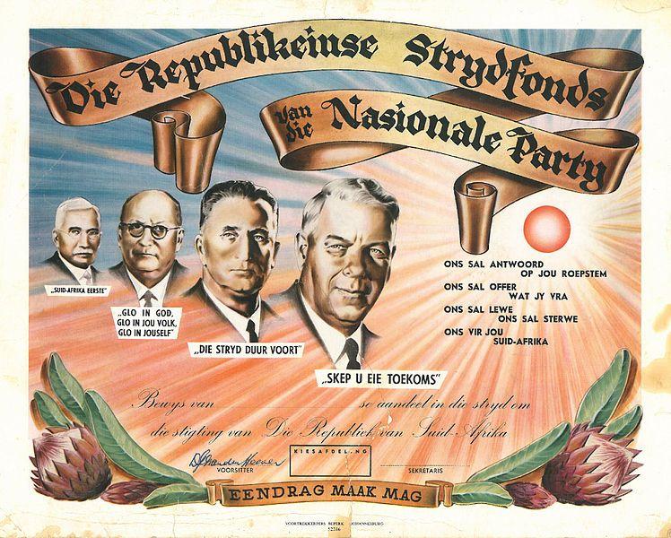 Poster van de Nationale Partij met vlnr Hertzog, Malan, Strijdom en Verwoerd