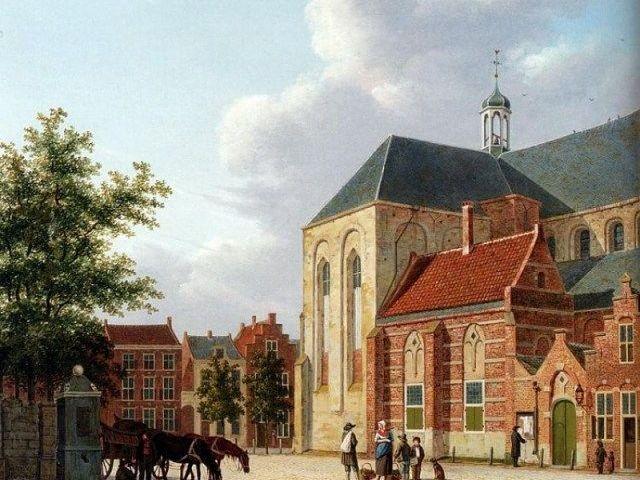 Janskerk op een schilderij van Hendrik van Oort, 1824