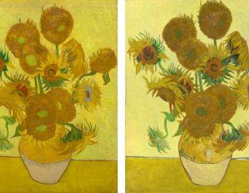Twee versies van De Zonnebloemen van Vincent van Gogh