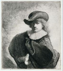 Zelfportret met hoed met slappe rand en geborduurde mantel - Rembrandt van Rijn, 1631