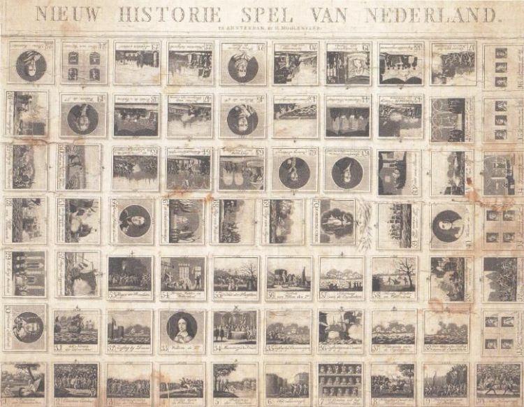Een 'Historiespel' bracht de jeugd van 1816 met plaatjes de vaderlandse geschiedenis bij.