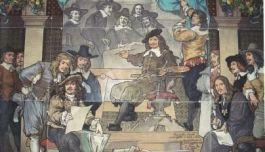 Rembrandt schildert de Staalmeesters. Tegeltableau op de zuidelijke buitenmuur van het Rijksmuseum. Tegenwoordig onzichtbaar door aanbouw.