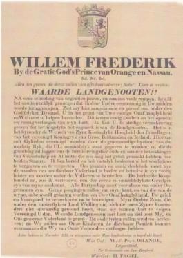 Proclamatie van Willem Frederik, Prince van Orange en Nassau, bij zijn aankomst in Scheveningen op 30 november 1813.