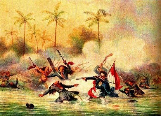 Nederlanders in gevecht met Ambonezen bij het eiland Sapoera in de Molukken. Een 17-jarige adelborst redt de Nederlandse vlag. Tekening Q.M.R. Verhuell, ca. 1817)