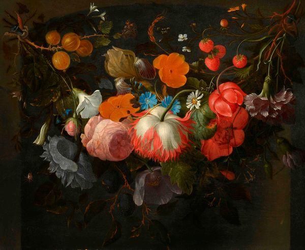 Een festoen met bloemen en fruit - Pieter Galis