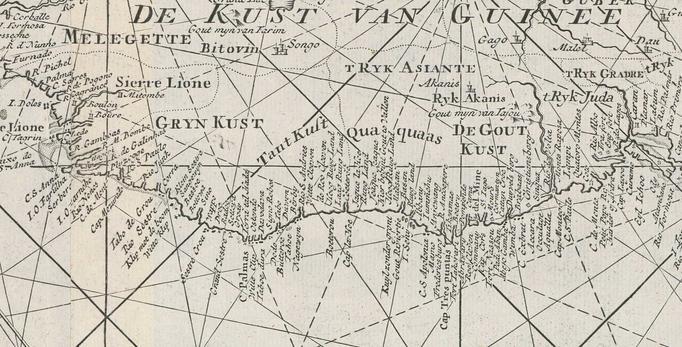 De kust van Guinee, het gebied waar o.a. d'Eenigheid zijn slaven haalde, veel groter dan het huidige land Guinee; detail op een West-Indische paskaart van ca 1728. Uitgever: Johannes II van Keulen (1704-1755) te Amsterdam, Zeeuwsch Archief.