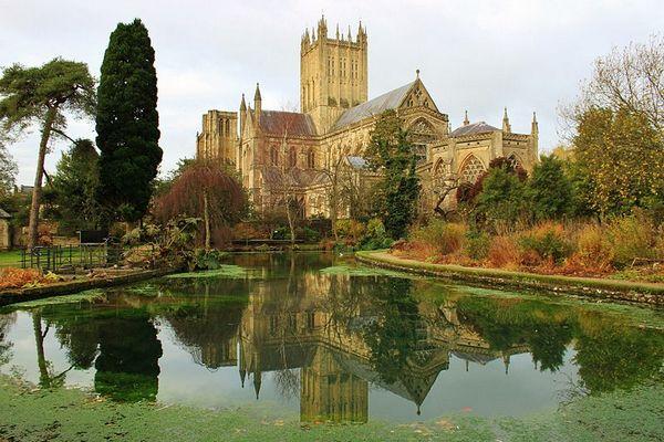 Kathedraal van Wells, gezien vanuit de tuinen van het bisschoppelijk paleis - CC