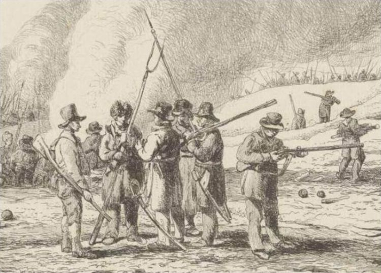 De landstorm van 's-Graveland voor Naarden, 19 januari 1814 (detail). Ets naar een tekening door Pieter Gerardus van Os uit 1814 (detail) - Rijksmuseum