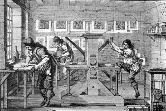 Plaatdrukkerij, waar boeken werden gedrukt. (Ets van Abraham Bosse, 1643, via Socialisme.nu)