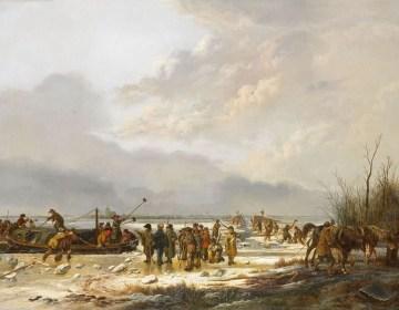 Het doorijzen van de Karnemelksloot bij Naarden, januari 1814. Olieverf op doek (99 cm – 131 cm) door Pieter Gerardus van Os uit 1814/1815. Collectie Rijksmuseum te Amsterdam.