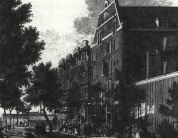 Het Willige Rasphuis aan de IJgracht in Amsterdam (nu Prins Hendrikkade), waar Adriaen Koerbagh de laatste maanden van zijn leven doorbracht.