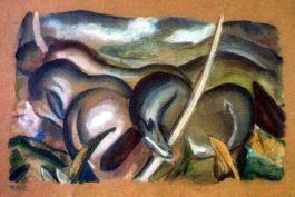 Schilderij van Franz Marc, een van de kunstwerken uit de collectie van Cornelius Gurlitt